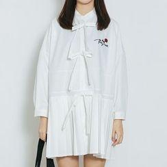 Heynew - Flower Embroidered Long Sleeve Mini Dress