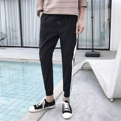 Bay Go Mall - Striped Cropped Slim-Fit Pants