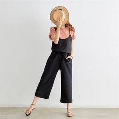 PIPPIN - Spaghetti-Strap Drawstring-Waist Wide-Leg Jumpsuit