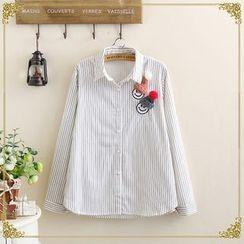 gabrielle - Beanie Accent Striped Shirt