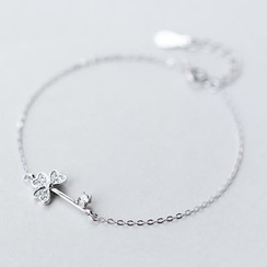 A'ROCH - 925 Sterling Silver Rhinestone Clover Bracelet