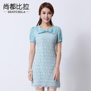 Sentubila - Short-Sleeve Bow Neck Lace Dress