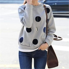CHICFOX - Drop-Shoulder Dotted Sweatshirt