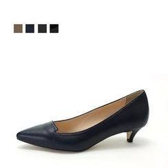 MODELSIS - Genuine Leather Pointy-Toe Kitten Heel
