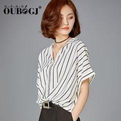 OUBO - Stripe Short-Sleeve Chiffon Blouse