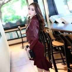 Cerulean - 套装:仿皮夹克 + 连衣裙