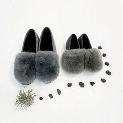 STYLEBYYAM - Faux Fur-Trim Slip-Ons