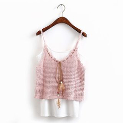 KANAMI - Cropped Crochet Camisole Top