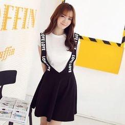 Mini Jule - Set: Short-Sleeve T-Shirt + Lettering Suspenders Skirt