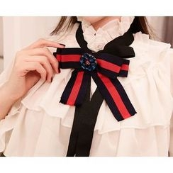 Marlangrouge - Frilled Blouse with Ribbon Brooch