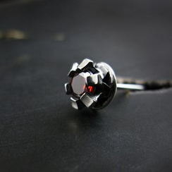 Sterlingworth - Garnet Sterling Silver Single Earring