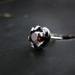 Sterlingworth - Garnet Sterling Silver Single Earring
