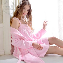 Mydream - Pajama Set: Coral Fleece Nightdress + Robe