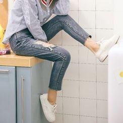 MOJIN - Distressed Slim-Fit Jeans
