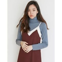 FROMBEGINNING - Turtle-Neck Slim-Fit Knit Top