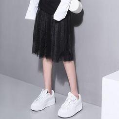 Sonne - Glitter Mesh A-Line Skirt