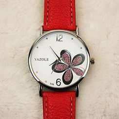 YAZOLE - Rhinestone Flower Faux-Leather Strap Watch
