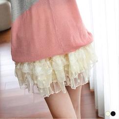 OrangeBear - 圆点点蕾丝蛋糕裤裙