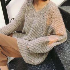 Dute - 寬鬆V領毛衣
