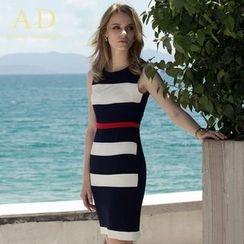 Aision - Sleeveless Stripe Sheath Dress