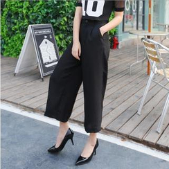 SUYISODA - High-waist Cropped Wide-leg Pants