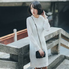 11.STREET - Long-Sleeve Dotted Chiffon Dress