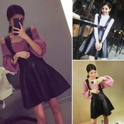 QZ Lady - Faux Leather A-Line Suspender Skirt