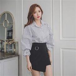 ERANZI - Frill-Cuff Pinstriped Shirt