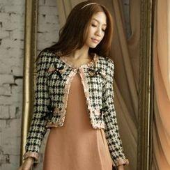 Tokyo Fashion - Frilled Cropped Tweed Jacket