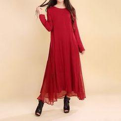 Diosa - Plain Frilled Long-Sleeve Dress