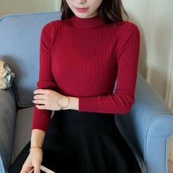 SimplyMe - Mock Neck Long-Sleeve Knit Top