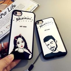 Cartoon Face - Printed Mobile Phone Case with Neck Strap - Apple iPhone 6 / 6 Plus / 7 / 7 Plus