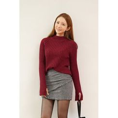 migunstyle - Cutout-Sleeve Ribbed Knit Top