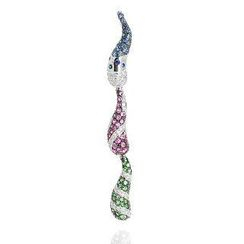 Keleo - 18K White Gold Customizable Pendant with Diamonds and Colorstones