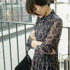 mimi&didi - Mock-Neck Patterned Chiffon Long Empire Dress