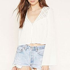 Richcoco - Lace Panel V-Neck Chiffon Jacket