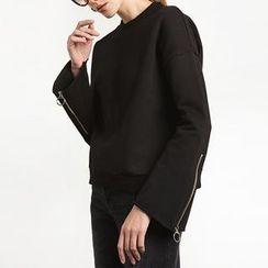 Richcoco - Zip Plain Sweatshirt