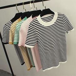 Honey House - Stripe Short-Sleeve Knit Top