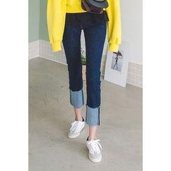 migunstyle - Cuff-Hem Straight-Cut Jeans