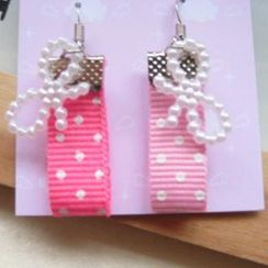 Fit-to-Kill - Hand made Pink spot cottons with ribbons earrings