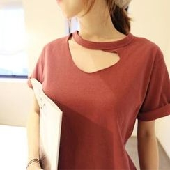NANING9 - Cutaway Roll-Up Short-Sleeve T-Shirt