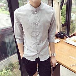 Prep Soul - Elbow-Sleeve Plain Shirt