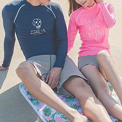 Sewwi - Couple Matching Set: Lettering Rashguard + Swim Shorts
