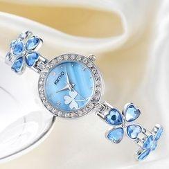Periwinkle - Rhinestone Jeweled Bracelet Watch