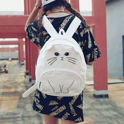 Youme - Cat Print Canvas Backpack