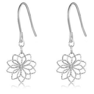 MaBelle - 14K Italian White Gold Diamond-Cut Hollow Flower Shepherd Hook Earrings, Women Girl Jewelry in Gift Box
