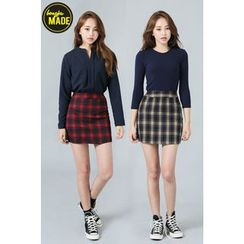 BONGJA SHOP - A-Line Check Mini Skirt