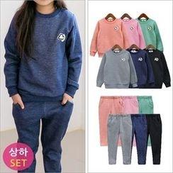 URAVI - Kids Set: Appliqué Brushed-Fleece Lined Sweatshirt + Sweatpants