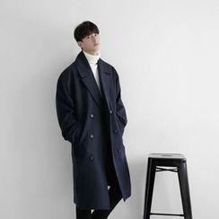 Seoul Homme - Notched-Lapel Double-Breasted Coat