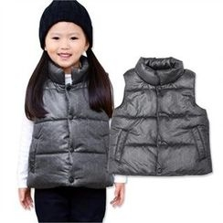TWINSBILLY - Kids Stand-Collar Patterned Puffer Vest